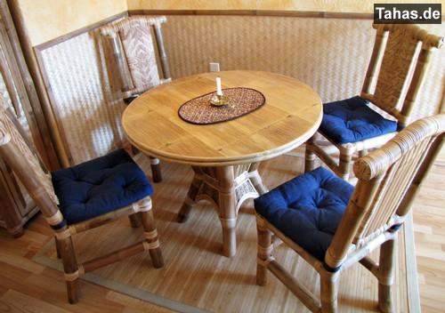 bambustisch f r haus garten rund 100cm tahas. Black Bedroom Furniture Sets. Home Design Ideas