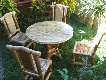 Bambustisch Runde Tischplatte 100cm Mit Bambusparkett Tahas