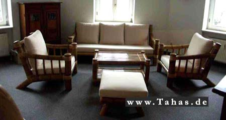 bambus couchgarnitur mit bambussessel couchtisch tahas. Black Bedroom Furniture Sets. Home Design Ideas